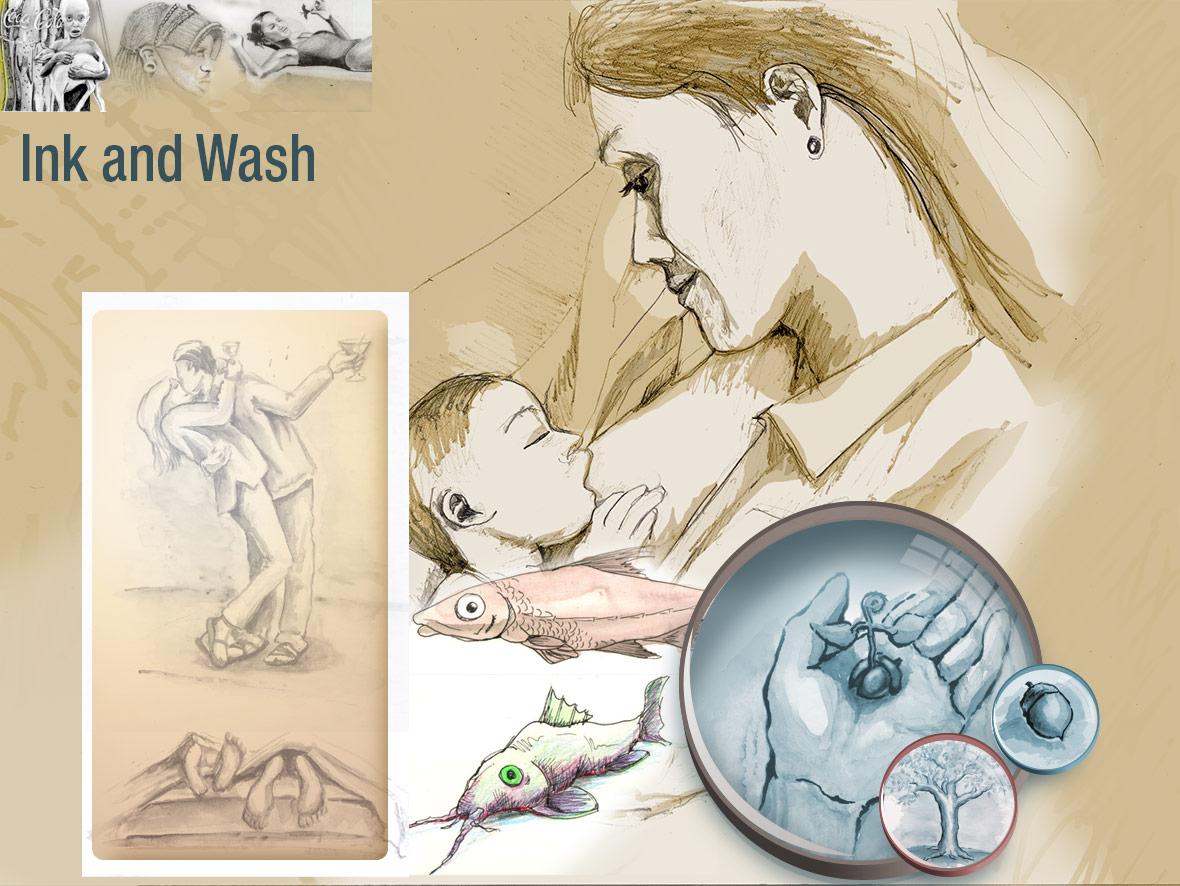 Ink and Wash Sample Illustration